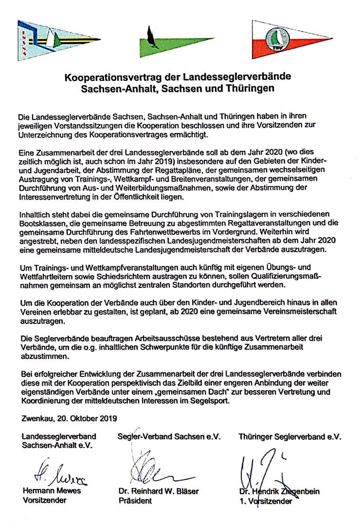 Kooperationsvertrag Seglerverbände 2019
