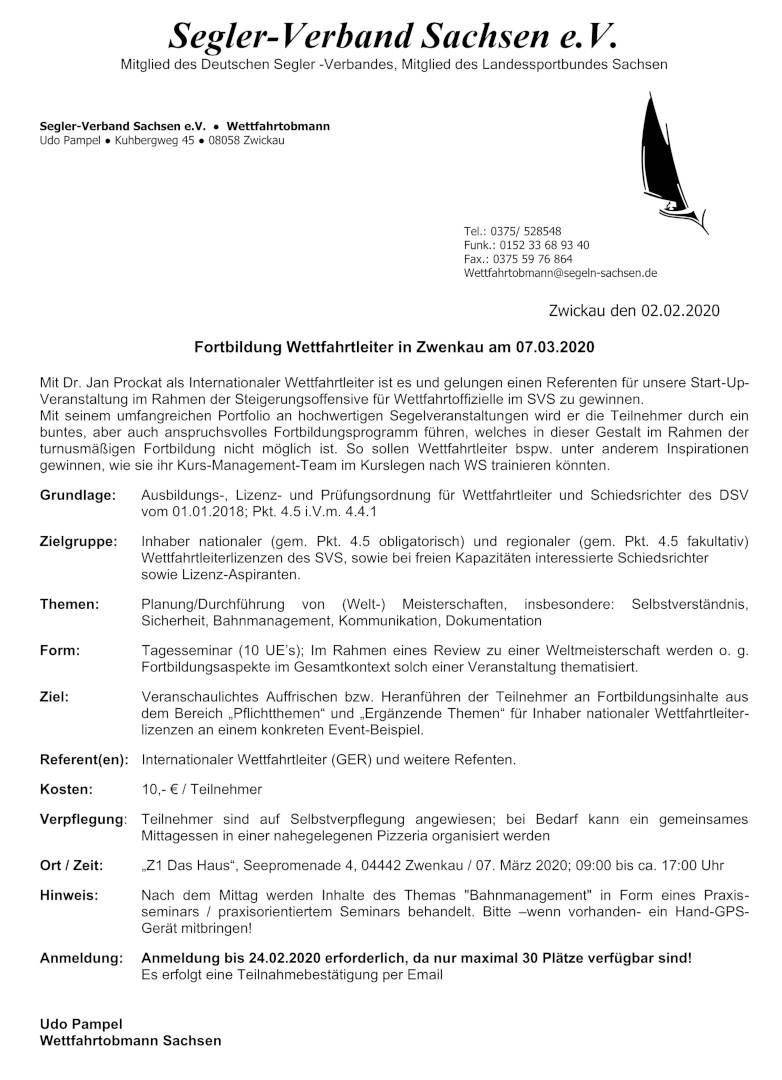 Einladung Fortbildung Wettfahrtleiter 2020